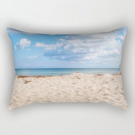 Seaside beach landscape and beautiful  coastline with sea waves Rectangular Pillow