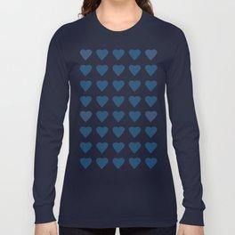 64 Hearts Navy Long Sleeve T-shirt