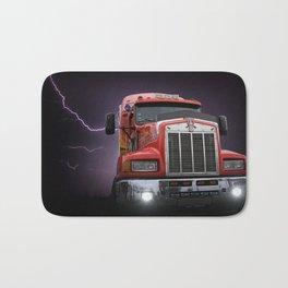 Red truck lightning bolt poster Bath Mat