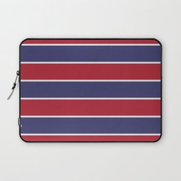 Large Red White and Blue USA Memorial Day Holiday Horizontal Cabana Stripes Laptop Sleeve