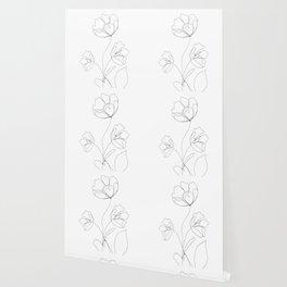 Poppies Minimal Line Art Wallpaper