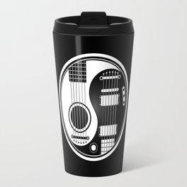 White and Black Acoustic Electric Yin Yang Guitars Travel Mug
