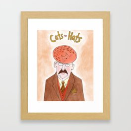 Cats as Hats - Man In Tweed Framed Art Print