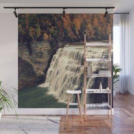 Waterfall in autumn Wall Mural