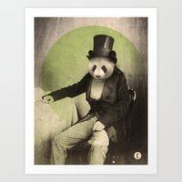 panda Art Prints featuring Proper Panda by Chase Kunz