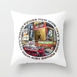 Times Square New York City (badge emblem on white) Throw Pillow