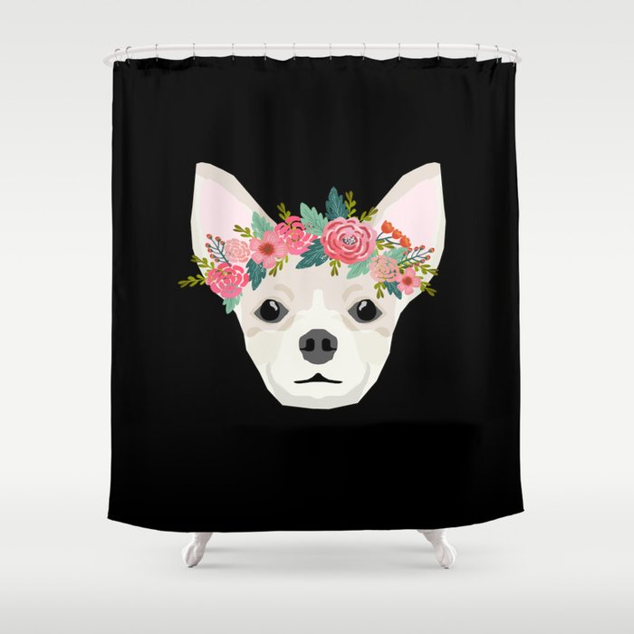 Chihuahua Dog Breed Floral Crown Chihuahuas Lover Pure Gifts Shower Curtain By Chiwawafans