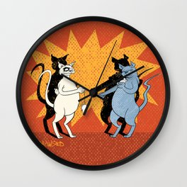 Cats playing conkers Wall Clock