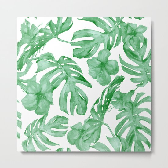 Tropical Island Leaves Green on White Metal Print