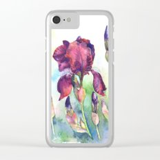 Watercolor iris flowers Clear iPhone Case