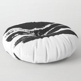 Abstract black brush strokes on white background, monochrome. Print. Floor Pillow