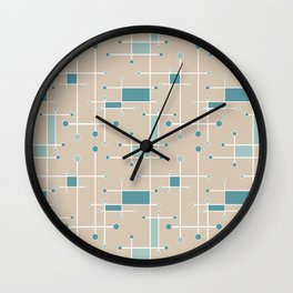 Intersecting Lines in Tan, Turquoise and Sea Foam Wall Clock