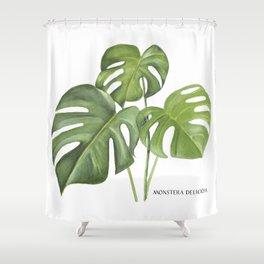 Monstera deliciosa 3 Leaves Shower Curtain
