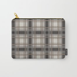 Brown Plaid with tan, cream and gray Carry-All Pouch