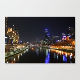Melbourne Australia Night Lights Cityscape Canvas Print