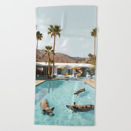 Pig Poolside Party Beach Towel