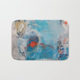 Disguised Blue Coral Abstract Contemporary Original Painting Bath Mat