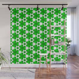Celtic Shamrock Irish Green Vegetation Pattern Wall Mural