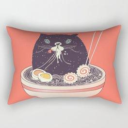 Bowl of ramen and black cat Rectangular Pillow