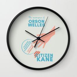 Citizen Kane, minimal movie poster, Orson Welles film, hollywood masterpiece, classic cinema Wall Clock