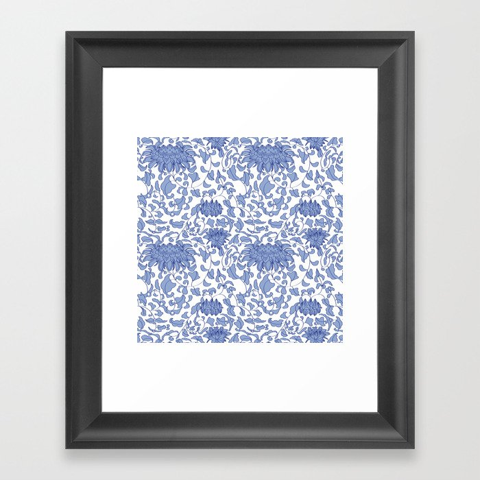 Chinoiserie Vines in Delft Blue + White Gerahmter Kunstdruck