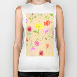 Orange Poppy Pattern 04 Biker Tank