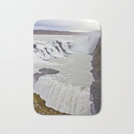 View of the Different Tiers of Gullfoss Waterfall in Iceland Bath Mat