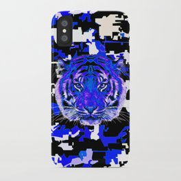 camouflage tiger on blue iPhone Case