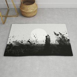 Abstract Watercolor Prints Black White Wall Art Minimalist Brushstrokes Circle Splatter Minimal Boho Rug