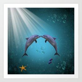 dolphins love Art Print