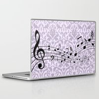 music notes Laptop & iPad Skins featuring Damask Music Notes by Jessica Wray