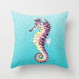 Seahorse Zebra Turquoise Throw Pillow