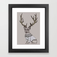 Deer Frenchie  Framed Art Print