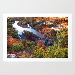 Branson Missouri Route 165 Scenic Overlook - Table Rock Lake in Autumn Art Print