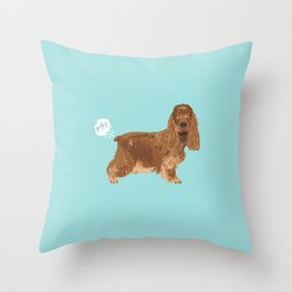 cocker spaniel funny farting dog breed gifts Throw Pillow