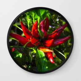 Red and Green Chili Peppers Wall Clock