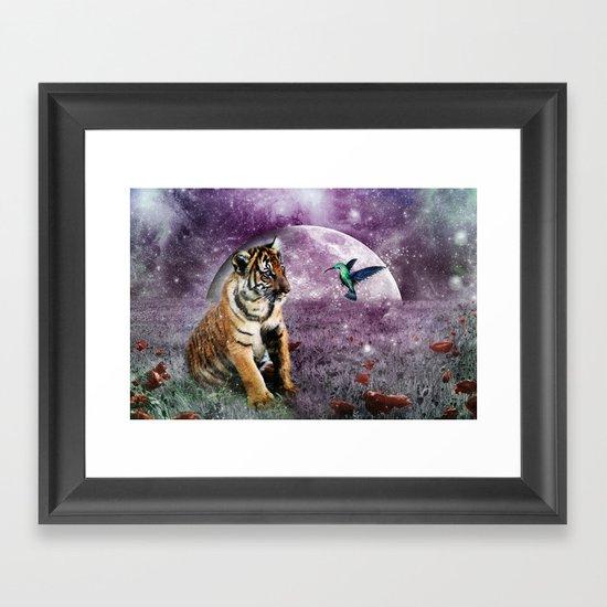 Tiger and Hummingbird Framed Art Print