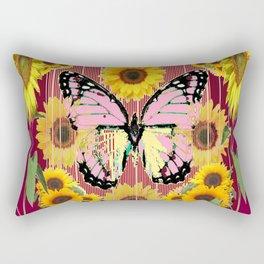 BURGUNDY SUNFLOWERS & PINK BUTTERFLY ART Rectangular Pillow
