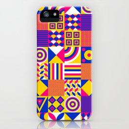 Vintage Hipster Cool Multicolor Decorative Decor Cubes Pattern iPhone Case