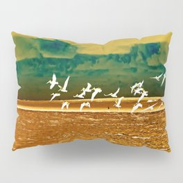 A Flock of White Pelicans Watercolor Pillow Sham