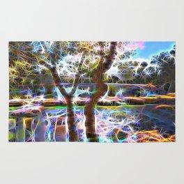 Trees Pond and Light Streams Rug