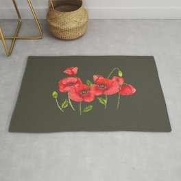 Watercolor red poppy flowers, poppies, Remembrance Day Rug