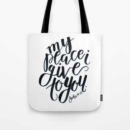 john bible verse calligraphy lettering black and white jesus christian peace Tote Bag