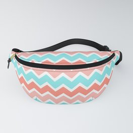 Coral Peach Pink and Aqua Turquoise Blue Chevron Fanny Pack
