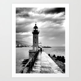 Braving the foul weather Art Print