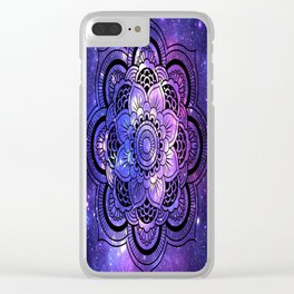 Mandala : Purple Blue Galaxy Clear iPhone Case