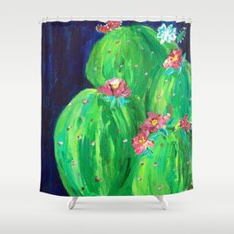 Flowering Prickly Pear Cacus Shower Curtain