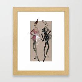 Fashion Illustration - Pink & Black dresses Framed Art Print