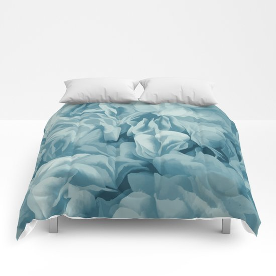 Soft Baby Blue Petal Ruffles Abstract Comforters