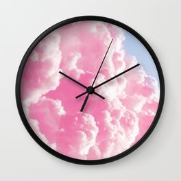Retro cotton candy clouds Wall Clock